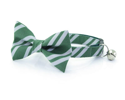 "Cat Bow Tie - ""Wizarding School / Green"" - Harry Potter-Inspired Cat Collar Bow Tie / Cat + Small Dog Bowtie / Removable (One Size)"