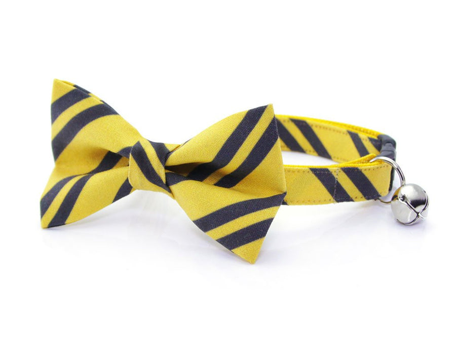 "Cat Bow Tie - ""Wizarding School / Yellow"" - Harry Potter-Inspired Cat Collar Bow Tie / Cat + Small Dog Bowtie / Removable (One Size)"
