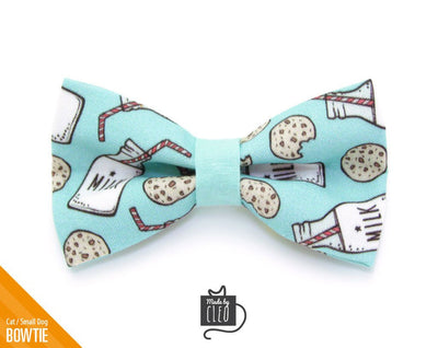"Cat Bow Tie - ""Cookies and Milk"" - Mint Cat Collar Bow Tie / Fun / Food / Cat, Kitten, Small Dog Bowtie / Removable (One Size)"