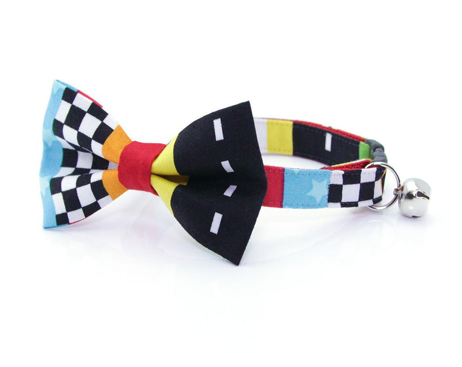 "Cat Bow Tie - ""Speed Racer"" - Racing Cat Collar Bow Tie / Boy Cat / Indy 500 / NASCAR / Cat + Small Dog Bowtie / Removable (One Size)"