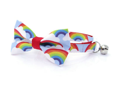 "Cat Bow Tie - ""Rainbow Magic"" - Rainbow Cat Collar Bow Tie / LGBTQ Pride / Cat, Kitten, Small Dog Bowtie / Removable (One Size)"