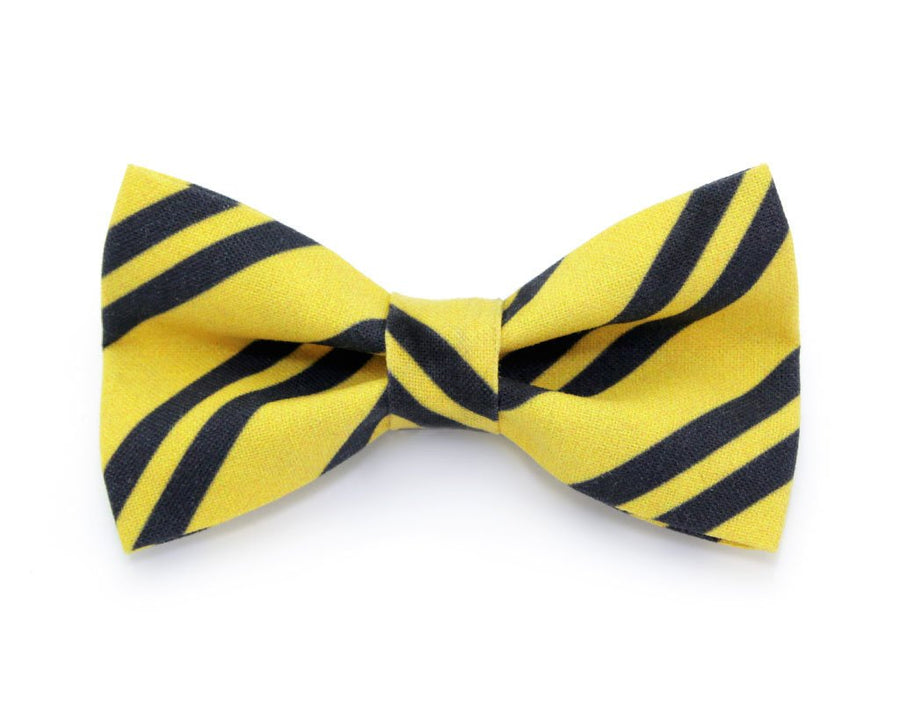 "Bow Tie Cat Collar Set - ""Wizarding School / Yellow"" - Harry Potter-Inspired Cat Collar w/ Matching Bow Tie (Removable)"