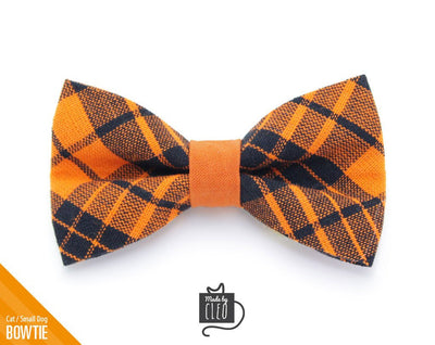 "Halloween Cat Bow Tie - ""Hocus Pocus"" - Orange & Black Plaid Cat Collar Bow Tie / Fall / Cat + Small Dog Bowtie / Removable (One Size)"