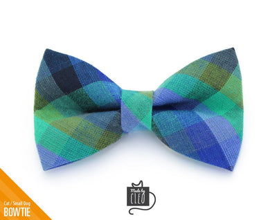 "Plaid Cat Bow Tie - ""Moonrise"" - Blue & Green Madras Plaid Cat Collar Bow Tie / Cat, Kitten, Small Dog Bowtie / Removable (One Size)"