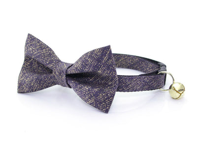 "Wedding Cat Bow Tie - ""Twilight"" - Dark Slate / Eggplant w /  Gold Texture Cat Collar Bow Tie / Cat + Small Dog Bowtie / Removable (One Size)"