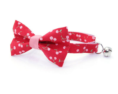 "Cat Bow Tie - ""Cherry Cordial"" - Pink Cherries on Red Cat Collar Bow Tie / Cat, Kitten, Small Dog Bowtie / Removable (One Size)"