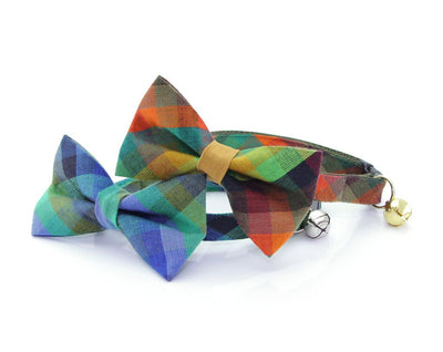 "Bow Tie Cat Collar Set - ""Moonrise"" - Blue & Green Plaid Cat Collar w/ Matching Bow Tie (Removable)"