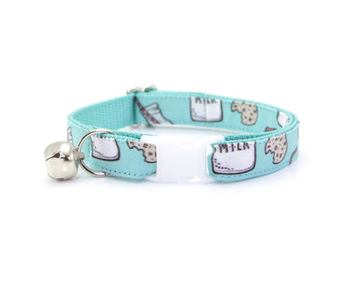 "Cat Collar + Flower Set - ""Cookies and Milk - Mint"" Cat Collar w/ ""Mint"" Flower (Detachable)"