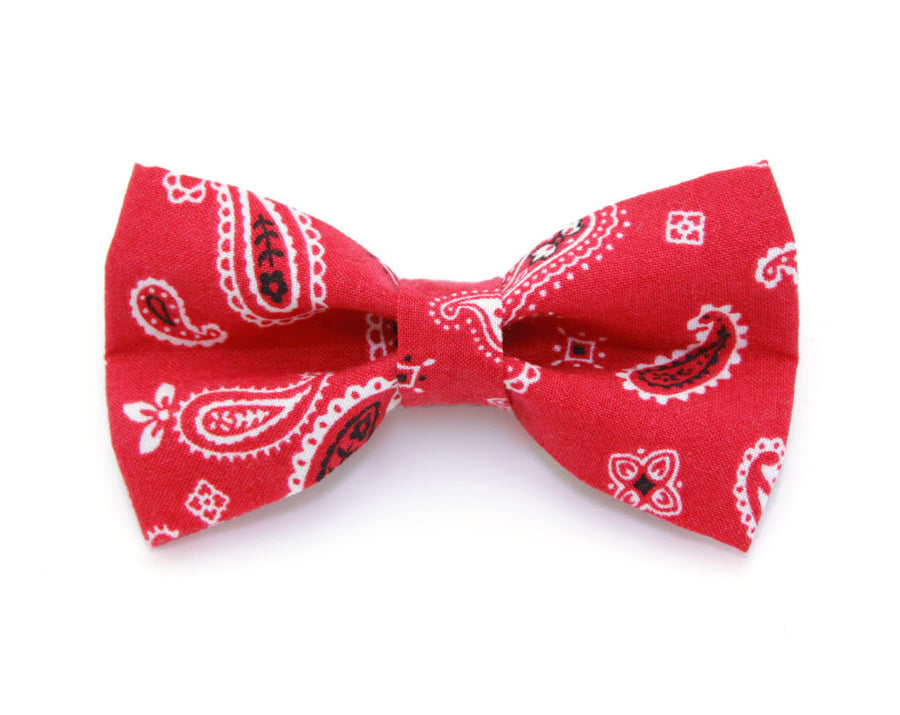 "Bow Tie Cat Collar Set - ""Lone Ranger Red"" - Bandana Cat Collar w/ Matching Bow Tie (Removable)"