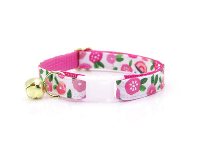 "Cat Collar + Flower Set - ""Rosalie"" - Pink Floral Cat Collar w /  ""Fuchsia"" Flower (Detachable)"