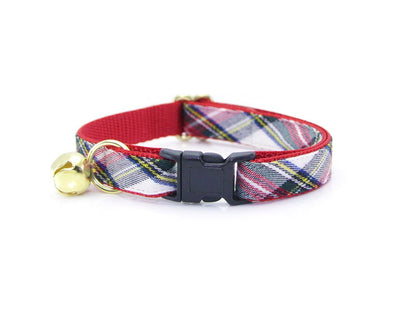 "Cat Collar + Flower Set - ""Orchard House"" - Plaid Red & Ivory Cat Collar w /  ""Scarlet"" Red Flower (Detachable)"