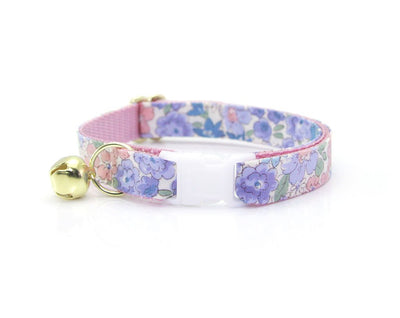 "Cat Collar + Flower Set - ""Willow"" - Light Pink, Purple & Blue Flower Cat Collar w /  ""Baby Pink"" Flower (Detachable)"