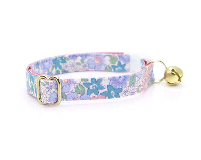 "Cat Collar + Flower Set - ""Willow"" - Light Pink, Purple & Blue Flower Cat Collar w /  ""Lavender"" Felt Flower (Detachable)"