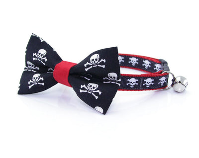 "Cat Collar - ""Spirit Walker / Red"" - Black & Red Skull Collar - Breakaway Buckle or Non-Breakaway / Cat, Kitten + Small Dog Sizes"