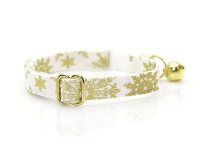 "Cat Collar + Flower Set - ""Snowfall Elegance Gold"" - White & Gold Snowflake Cat Collar w/ Ivory Felt Flower (Detachable)"