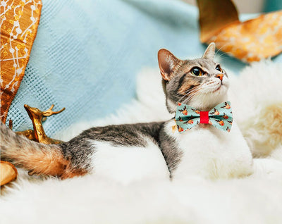 "Christmas Pet Bow Tie - ""Tiny Reindeer"" - Mint & Red Rudolph the Reindeer - Cat Collar Bow Tie / Kitten Bow Tie / Small Dog Bow Tie - Removable (One Size)"