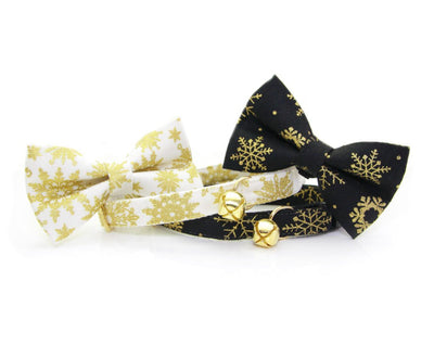 "Winter Pet Bow Tie - ""Snowfall Elegance Gold"" - White & Gold Snowflakes - Cat Collar Bow Tie / Kitten Bow Tie / Small Dog Bow Tie - Removable (One Size)"
