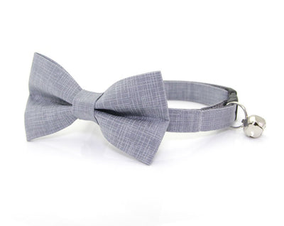 "Wedding Pet Bow Tie - ""Steel Gray"" - Solid Color Linen Textured - Cat Collar Bow Tie / Kitten Bow Tie / Small Dog Bow Tie - Removable (One Size)"