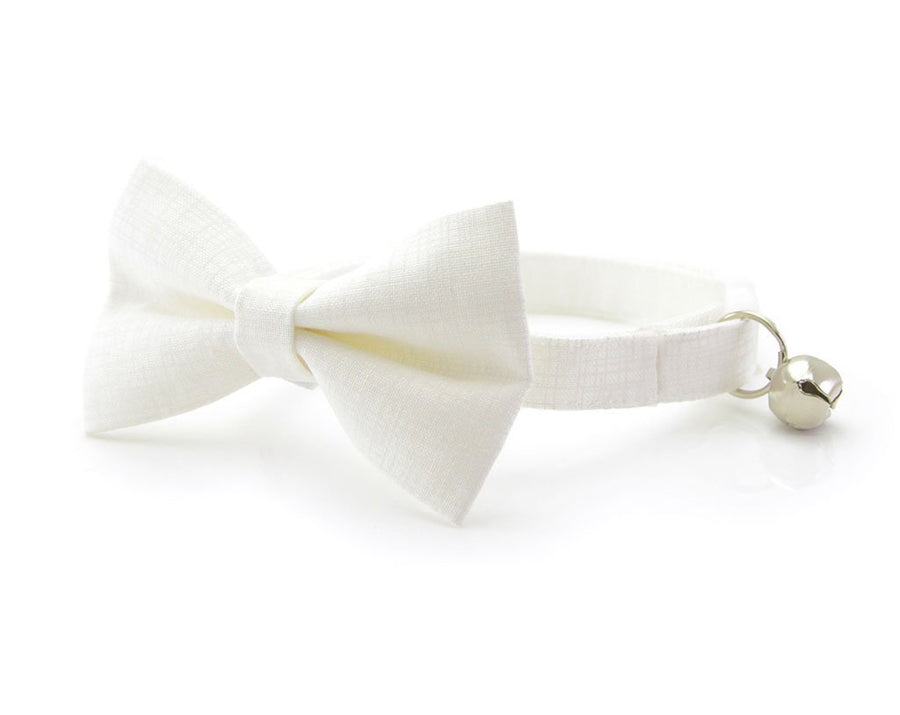 "Wedding Pet Bow Tie - ""Alabaster White"" - Solid Color Linen Textured - Cat Collar Bow Tie / Kitten Bow Tie / Small Dog Bow Tie - Removable (One Size)"