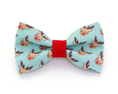 "Bow Tie Cat Collar Set - ""Tiny Reindeer"" - Mint Holiday Cat Collar w/  Matching Bow Tie (Removable)"