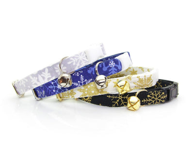 "Cat Collar - ""Snowfall Elegance - Gold"" - White & Gold Snowflakes - Breakaway Buckle or Non-Breakaway / Cat, Kitten + Small Dog Sizes"