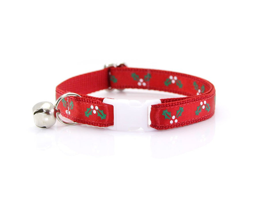 "Bow Tie Cat Collar Set - ""Holly Jolly Red"" - Red Christmas Cat Collar w/ ""Garnet Red Velvet Bow Tie"" (Removable)"
