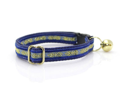 "Velvet Cat Collar - ""Regency Blue"" - Velvet w/ Gold Embroidery - Breakaway Buckle or Non-Breakaway / Cat, Kitten + Small Dog Sizes"