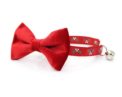 "BACKORDERED 11/14 - Bow Tie Cat Collar Set - ""Holly Jolly Red"" - Red Christmas Cat Collar w/  ""Red Velvet"" Bow Tie (Removable)"