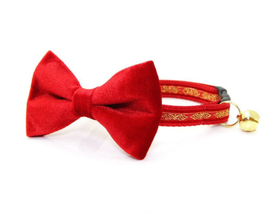 "Bow Tie Cat Collar Set - ""Regency Red"" - Red & Gold Velvet Cat Collar w/  ""Red Velvet"" Bow Tie (Removable)"
