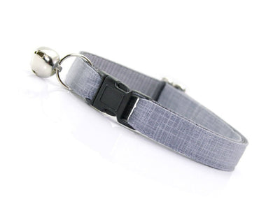 "Cat Collar - ""Steel Gray"" - Solid Color Linen Textured Grey - Breakaway Buckle or Non-Breakaway / Cat, Kitten + Small Dog Sizes"