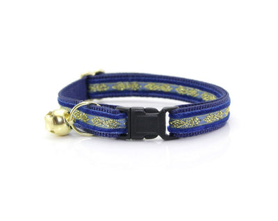 "Velvet Cat Collar + Flower Set - ""Regency Blue"" - Velvet w/ Gold Embroidery Cat Collar + Sky Blue Flower (Detachable)"