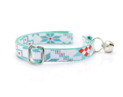 "Cat Collar + Flower Set - ""Fair Isle Sweater"" - Geometric Mint & Red Winter Cat Collar w/ Scarlet Red Flower (Detachable)"