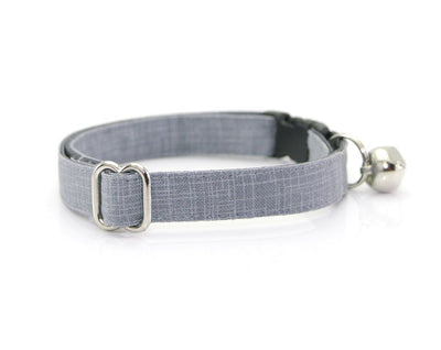 "Cat Collar + Flower Set - ""Steel Gray"" - Solid Color Linen Textured Cat Collar w/ Ivory Felt Flower (Detachable)"