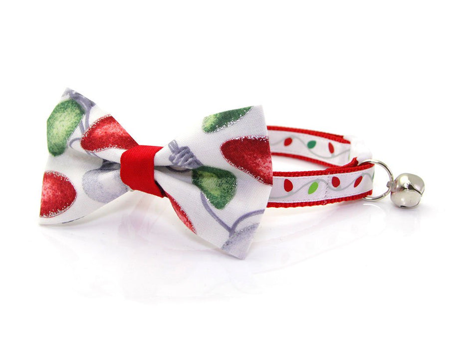 "Holiday Pet Bow Tie - ""Christmas Lights"" - Xmas String Lights - Cat Collar Bow Tie / Kitten Bow Tie / Small Dog Bow Tie - Removable (One Size)"