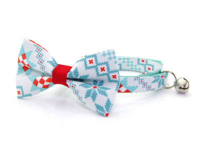 "Holiday Pet Bow Tie - ""Fair Isle Sweater"" - Mint & Red Geometric - Cat Collar Bow Tie / Kitten Bow Tie / Small Dog Bow Tie - Removable (One Size)"