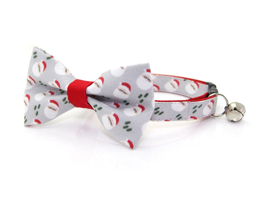 "Christmas Pet Bow Tie - ""Santa Claus"" - Mini Santas on Gray & Red - Cat Collar Bow Tie / Kitten Bow Tie / Small Dog Bow Tie - Removable (One Size)"