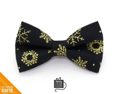 "Winter Pet Bow Tie - ""Snowfall Elegance Black"" - Gold & Black Snowflake - Cat Collar Bow Tie / Kitten Bow Tie / Small Dog Bow Tie - Removable (One Size)"