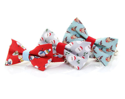 "Cat Collar - ""Santa Claus"" - Mini Santas on Gray & Red  - Breakaway Buckle or Non-Breakaway / Cat, Kitten + Small Dog Sizes"