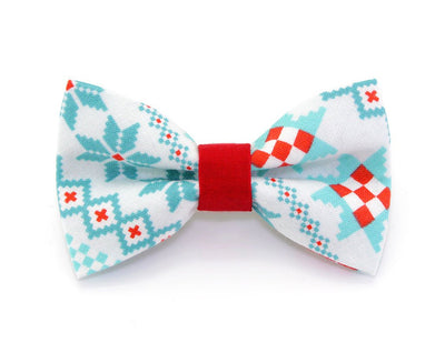 "Bow Tie Cat Collar Set - ""Fair Isle Sweater"" - Geometric Mint & Red Collar w/ Matching Bow Tie (Removable)"