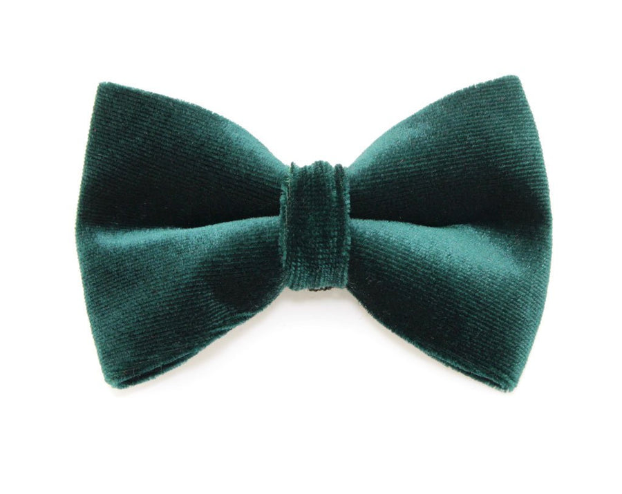 "Bow Tie Cat Collar Set - ""Holly Jolly Green"" - Green Christmas Cat Collar w/  ""Green Velvet"" Bow Tie"
