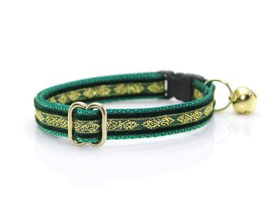 "Velvet Cat Collar - ""Regency Green"" - Velvet w/ Gold Embroidery - Breakaway Buckle or Non-Breakaway / Cat, Kitten + Small Dog Sizes"