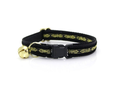 "Bow Tie Cat Collar Set - ""Regency Black"" - Black & Gold Velvet Cat Collar w/  ""Onyx Black Velvet Bow Tie"" (Removable)"