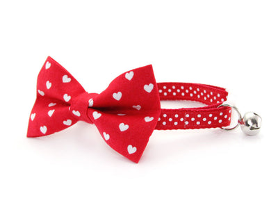 "Valentine's Day Cat Bow Tie - ""Love Song"" - White Hearts on Red Bow Tie / For Cats + Small Dogs / Removable (One Size)"