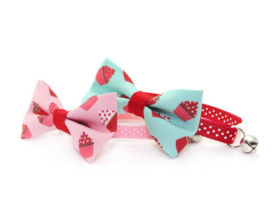 "Valentine's Day Cat Bow Tie - ""Hey Cupcake - Pink"" - Cupcakes on Pink Bow Tie / For Cats + Small Dogs / Removable (One Size)"