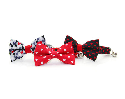 "Valentine's Day Cat Bow Tie - ""Crush"" - Scattered Hearts on Gray Bowtie / For Cats + Small Dogs / Removable (One Size)"