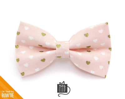 "Valentine's Day Cat Bow Tie - ""Devotion - Pink"" - Gold Hearts on Light Pink Bowtie / For Cats + Small Dogs / Removable (One Size)"