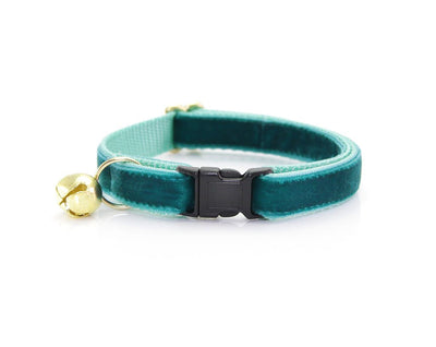 "Velvet Cat Collar + Flower Set - ""Velvet - Ocean Teal"" - Deep Blue/Green Cat Collar w/ Teal Felt Flower (Detachable)"