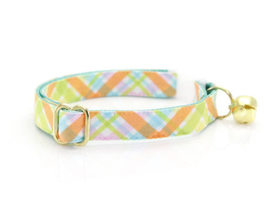 "Cat Collar + Flower Set - ""Carrot Patch"" - Spring Plaid Cat Collar w/ Peach Flower (Detachable)"
