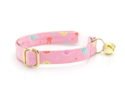 "Cat Collar + Flower Set - ""Bunny Peeps"" - Pink Pastel Easter Bunny Cat Collar w/ Baby Pink Flower (Detachable)"