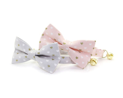 "Valentine Bow Tie Cat Collar Set - ""Devotion - Gray"" - Gold Hearts on Light Gray Cat Collar w/ Matching Bowtie (Removable)"